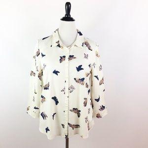 ModCloth women's button shirt moths NEW L top